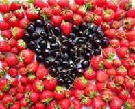 Morangos e cerejas Fotografia de Stock Royalty Free