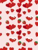 Morangos e fundo dos corações Imagem de Stock Royalty Free