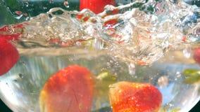 Morangos frescas maduras que caem na água no fundo da natureza Fim do movimento lento acima vídeos de arquivo