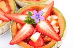 Morangos frescas na salada de fruto Imagem de Stock Royalty Free