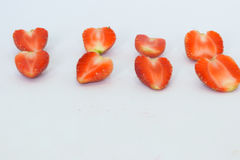 Morangos isoladas com parte Imagens de Stock