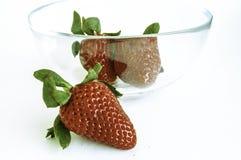 Morangos no copo de vidro Fotografia de Stock