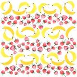 Morangos saborosos saborosos bonitas bonitos doces deliciosas brilhantes do verão e aquarela horizontal do teste padrão da banana ilustração do vetor