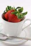 Morangos vermelhas frescas dentro de um Teacup branco Fotografia de Stock Royalty Free
