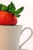 Morangos vermelhas frescas dentro de um Teacup branco de China Imagem de Stock Royalty Free