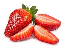 Morangos vermelhas maduras no fundo branco isolado Imagem de Stock