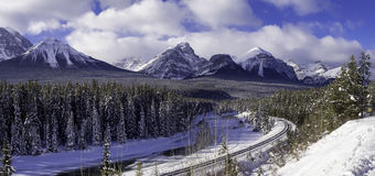 Morant`s Curve, Banff National Park Royalty Free Stock Images