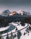 Morants Curve is a beautiful area that the Canadian Pacific railway passes through along the Bow River,Banff National Park,Canada royalty free stock image