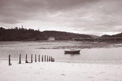 Morar Bay Beach and Boat; Scotland Royalty Free Stock Photo