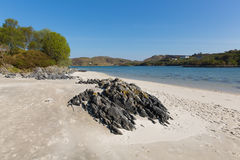 Morar beach Scotland UK beautiful white sandy beach Scottish tourist destination. Silver Sands of Morar beautiful Scotland UK sandy beaches on the coastline from Stock Photo
