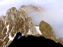Moraru ridge in fog - Bucegi mountains Stock Image