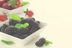 Moras y fresas maduras frescas con la menta en cuenco en el fondo blanco, espacio de la copia Fotos de archivo libres de regalías