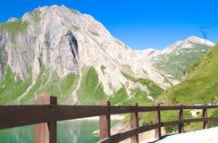 Morasco lake, formazza lake. Path along the morasco lake, formazza valley Royalty Free Stock Photo