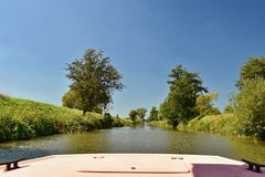 Morava river from the boat. Bata Canal. Royalty Free Stock Photography