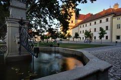 Moravia sul, Valtice, fonte em um quadrado Imagem de Stock Royalty Free