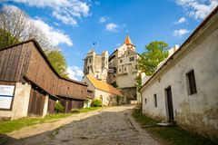 Moravian castle Pernstejn, standing on a hill above deep forests of the Bohemian-Moravian Highlands in Czech Republic. Europe royalty free stock image