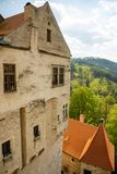 Moravian castle Pernstejn, standing on a hill above deep forests of the Bohemian-Moravian Highlands in Czech Republic. Europe stock photos