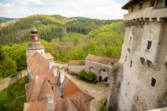 Moravian castle Pernstejn, standing on a hill above deep forests of the Bohemian-Moravian Highlands in Czech Republic. Europe royalty free stock photography