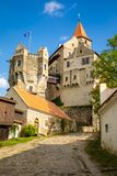 Moravian castle Pernstejn, standing on a hill above deep forests of the Bohemian-Moravian Highlands in Czech Republic. Europe stock image
