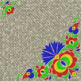 Moravian folk ornament relief painting on generated knit texture Royalty Free Stock Photos