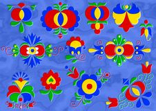 Moravian folk ornament relief painting on generated marble Royalty Free Stock Photo