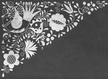 Moravian folk ornaments on chalkboard. Texture vector illustration