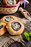 Moravian pies with plum jam, curd filling and crumble Stock Images