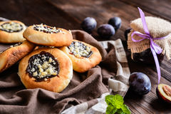 Moravian pies with plum jam, curd filling and crumble Royalty Free Stock Images