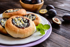 Moravian pies with plum jam, curd filling and crumble Stock Image