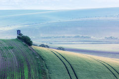 Moravian rolling landscape with hunting tower Royalty Free Stock Images