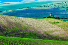 Moravian rolling landscape with hunting tower Royalty Free Stock Photo