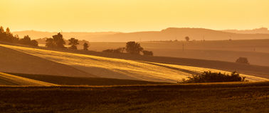 Moravian rolling landscape on sunset Royalty Free Stock Images