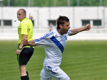 Moravian-Silesian League, footballer Hynek Prokes. FOOTBALL PITCH FRYDEK-MISTEK, CZECH REPUBLIC - MAY 19: Czech footballer Hynek Prokes in football match in vector illustration