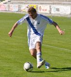 Moravian-Silesian League, footballer Jiri Prokes. FOOTBALL PITCH FRYDEK-MISTEK, CZECH REPUBLIC - JUN 16: Czech footballer Jiri Prokes in football match in royalty free illustration