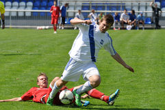 Moravian-Silesian League, footballer R. Chylek. FOOTBALL PITCH FRYDEK-MISTEK, CZECH REPUBLIC - MAY 5: Czech footballer Radomir Chylek in football match in vector illustration