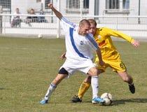 Moravian-Silesian League, footballer R. Grussmann. FOOTBALL PITCH FRYDEK-MISTEK, CZECH REPUBLIC - MAR 24: Czech footballer Radim Grussmann in football match in stock illustration