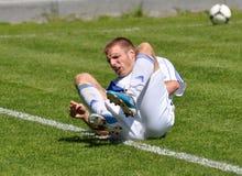 Moravian-Silesian League, footballer R. Grussmann. FOOTBALL PITCH FRYDEK-MISTEK, CZECH REPUBLIC - MAY 19: Czech footballer Radim Grussmann in football match in stock illustration