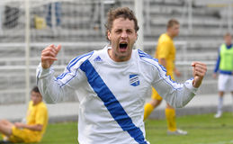 Moravian-Silezische Liga, voetballer Hynek Prokes Stock Foto's