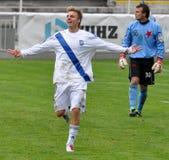 Moravian-Silezische Liga, voetballer R. Grussmann Stock Afbeeldingen