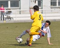 Moravian-Silezische Liga, voetballer R. Wozniak Royalty-vrije Stock Afbeeldingen