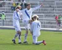 Moravian-Silezische Liga, voetballers van Frydek Stock Afbeelding
