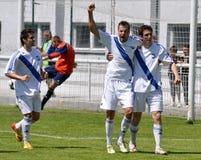 Moravian-Silezische Liga, voetballers van Frydek Stock Foto's