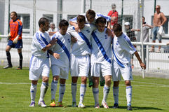 Moravian-Silezische Liga, voetballers van Frydek Stock Afbeeldingen
