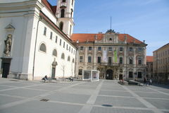 Moravske square_ Brno. Moravske namesti is a historical square in the centre of Brno, Czech republic dominated by the church of Thomas royalty free stock images