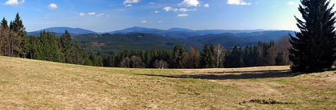 Moravskoslezske Beskydy mountains panorama from Beskyd hill Stock Photography