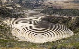 Moray ancient circular terraces. Royalty Free Stock Photos