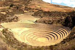Moray in de Heilige Vallei, Inca-architectuur in Peru Stock Foto's
