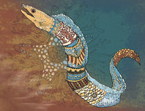 Moray_ decor. Мanual graphics, computer color filling decorated Moray Stock Images