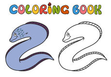 Moray Eel Cartoon. Coloring book. Moray Eel Cartoon, part of the collection of marine life Royalty Free Stock Images