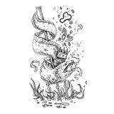 Moray eel and treasure. Black and white illustration Stock Images